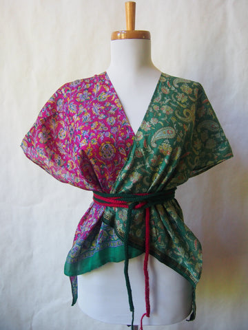 Limited Edition Eco Wrap Blouse in S/M     (Green/DarkFuschia)