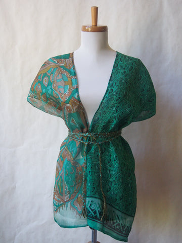 Limited Edition Eco Wrap Blouse in Med     (Green/Brown)