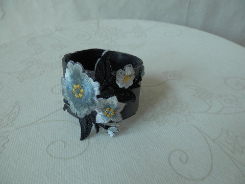 Misty Morning Flowers Mixed Media Bracelet by Maya's Ideas