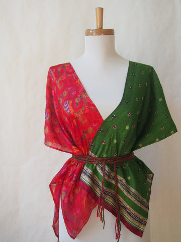 Limited Edition Eco Wrap Blouse in S/M     (Red/Green)
