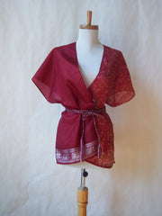 Limited Edition Eco Wrap Blouse in S/M (Burgundy/Floral)