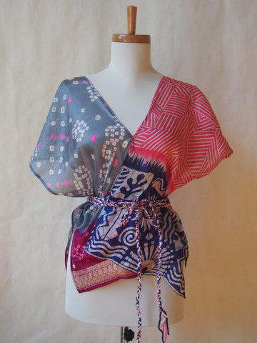 Limited Edition Eco Wrap Blouse in Small (Navy/Pink/Gray)