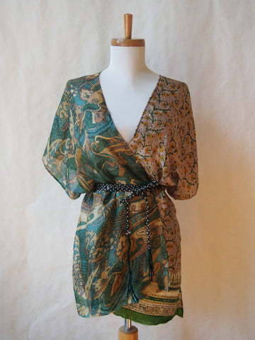 Limited Edition Eco Wrap Blouse in Med (Green/Taupe/Gold )