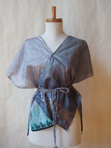 Limited Edition Eco Wrap Blouse in Med (Steel Gray/Blue Floral)