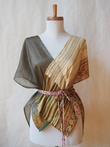 Limited Edition Eco Wrap Blouse in S/M (Sage Green/ Ivory Floral)