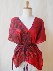 Limited Edition Eco Wrap Blouse in Med (Cranberry Floral)
