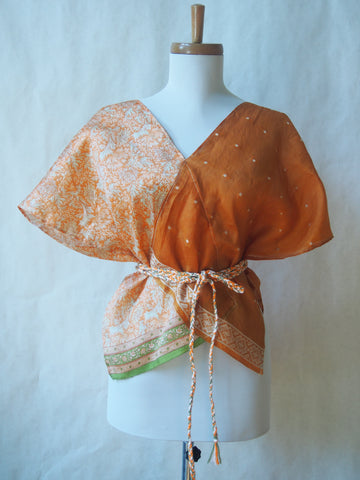 Limited Edition Eco Wrap Blouse in Med (Orange Floral/Burnt Orange)