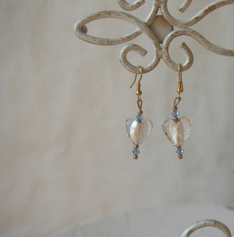 Vintage Frosted Glass Heart Earrings