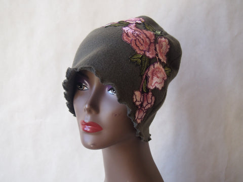 Sage Green Cloche with Rose Bouquet Fleece by Maya's Ideas
