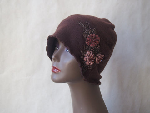 Brown Cloche with Flowers by Maya's Ideas