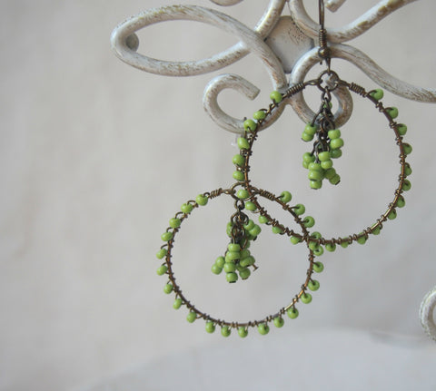 Green Wire Wrapped Hoop Earrings