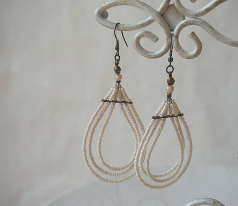 Vintage Ivory Three-Strand Earrings