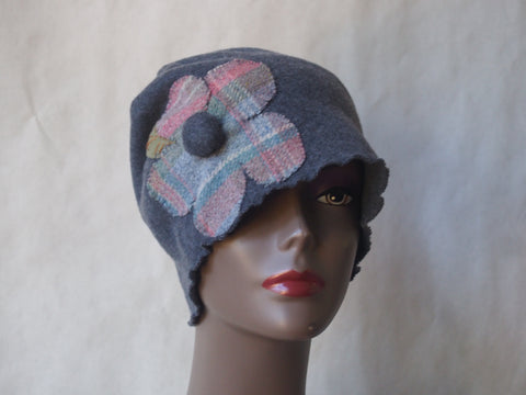 Plaid Party Eco Friendly Gray Fleece Cloche Hat by Maya's Ideas