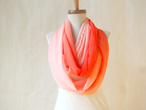 Coral Ombre Infinity Scarf by Maya's Ideas