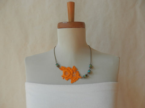 Orange Floral Lace Necklace by Maya's Ideas