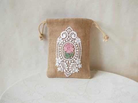 Rosey  Clouds Organic Burlap Wristlet Mini-Purse by Maya's Ideas