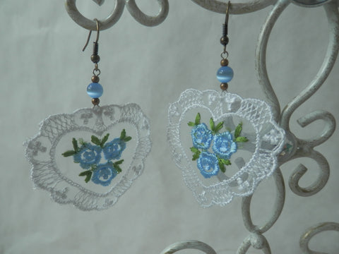 Organza and Lace Blue Floral Heart Earrings by Maya's Ideas
