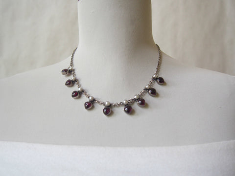 Vintage Garnet Hearts Sterling  Silver Necklace