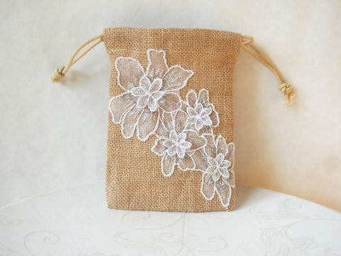 Silver Clouds Organic Burlap Wristlet Mini-Purse by Maya's Ideas