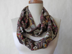 Floral Brown and Burgundy Infinity Scarf by Maya's Ideas