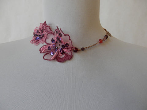 Beautiful Blossoms Mixed Media Necklace by Maya's Ideas