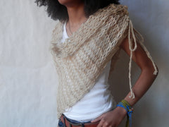 Vegan Asymmetrical Ruched Hand Knit Cowl/Scarf In Soft Wheat by Maya's Ideas