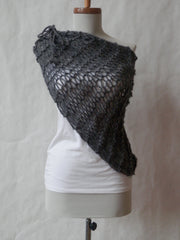 Vegan Asymmetrical Ruched Hand Knit Cowl/Scarf In Dark Heather Gray OR Burgundy Heather OR Bark (Brown) by Maya's Ideas