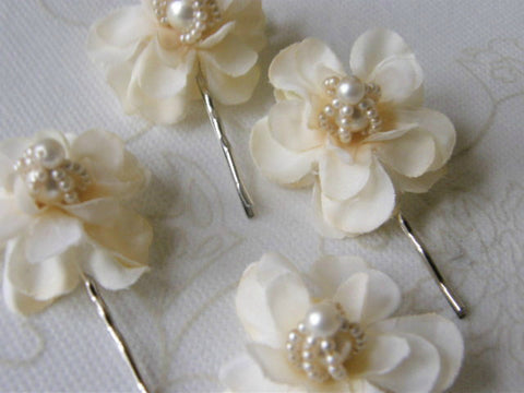 Vintage Pearl Blossoms Wedding Bobbies (Hair Pins) by Maya's Ideas Set of 2