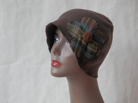 Brown and Green Plaid Flower Cloche by Maya's Ideas