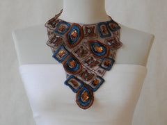 Organza Brown and Teal Statement Necklace by Maya's Ideas