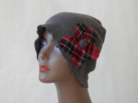 Checkered Cherry Gray Fleece Cloche by Maya's Ideas