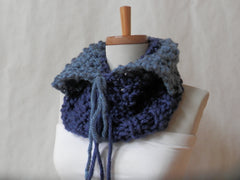 Vegan Shades of Blue Ombre Knitted Split Collar Cowl by Maya's Ideas