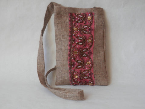 Coral and Copper Organic Burlap and Silk Crossbody Bag by Maya's Ideas