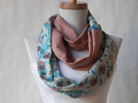 Mauve-Rose Cotton Voile and Turquoise Silk Infinity Scarf by Maya's Ideas