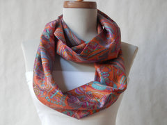 Orange and Turquoise Crinkle Silk Kimono Print Infinity Scarf by Maya's Ideas