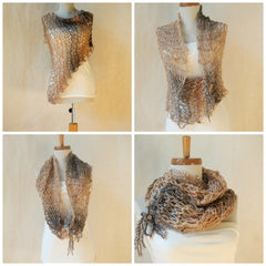 Vegan Asymmetrical Ruched Hand Knit Cowl/Scarf In Caramel Tweed by Maya's Ideas