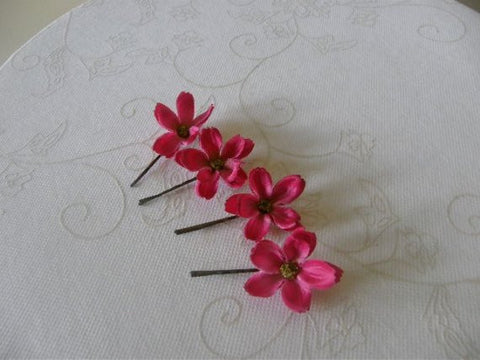 Fuschia Hair Flowers ( Bobby Pins )