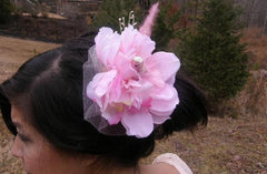 Pink Bird Hair Fascinator/Hair Comb