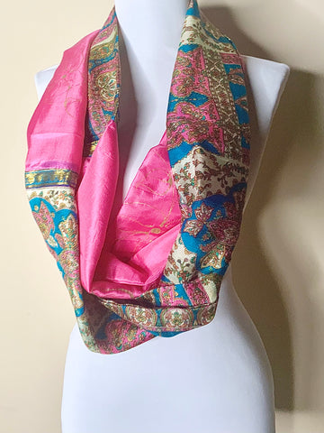 Pink Paradise Hand Painted Recycled Silk Infinity Scarf