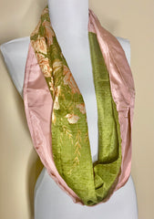 Rose and Grass Hand Painted Recycled Silk Scarf