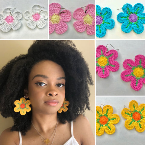 Upcycled Crochet Flower Earrings (Color Options Available)
