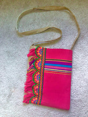 Coral Celebration Eco Friendly Organic Burlap Embroidery Bag