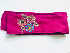 Cotton Headband with Vintage Beadwork