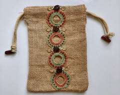 Tricolor Circle Organic Burlap Wristlet Mini-Purse