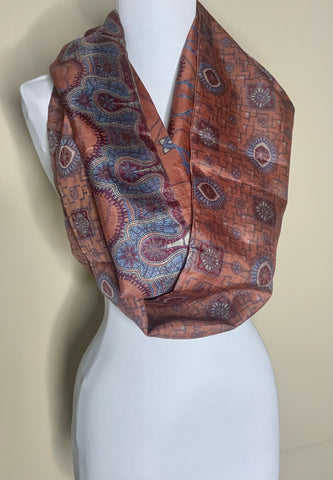 Russet Royalty Recycled Silk Infinity Scarf