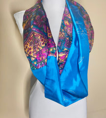 Blue Bouquet Recycled Silk Infinity Scarf