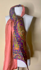 Pink and Purple Paisleys Recycled Raw Silk Scarf