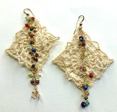 Vintage Crochet and Gemstone Earrings