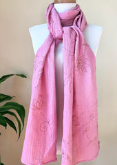 Subtle Flora Hand Painted Organic Cotton Scarf w/ Gem Stones (Color Options Available)
