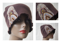 Flapper Rules Brown Beaded Cloche Hat by Maya's Ideas